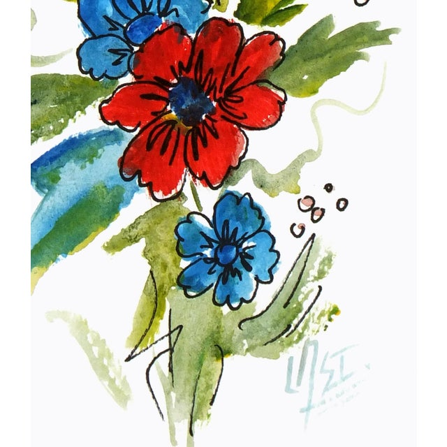 Charming watercolor of flowers by artist Armando Sanchez. C.2010 Signed lower right. Original artwork on paper displayed...