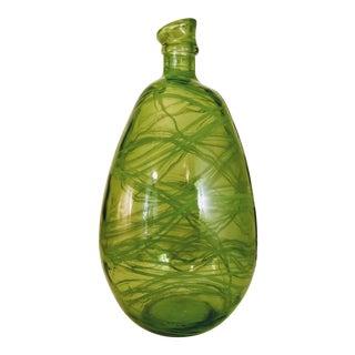 Vintage Green Recycled Glass Vase Spanish Bottle Jar For Sale