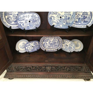 Antique French Carved Oak Renaissance Glass Display Theater Preview
