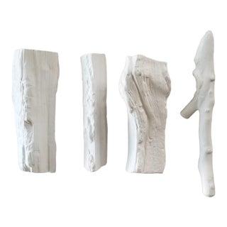 "Ballard Designs White Porcelain ""Wood"" Log Set- 4 Pieces For Sale"