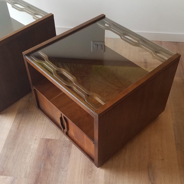 Vintage Mid-Century Modern Walnut Side Tables With Glass Tops - a Pair For Sale - Image 10 of 13
