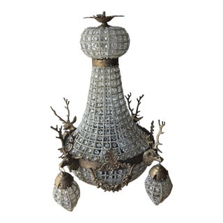 Stag Deerhead and Crystal Empire Aged Bronze Chandelier For Sale