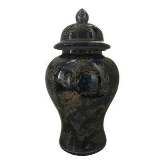 Hollywood Regency Chinese Chinoiserie Black & Gold Dragon Porcelain Ginger Jar
