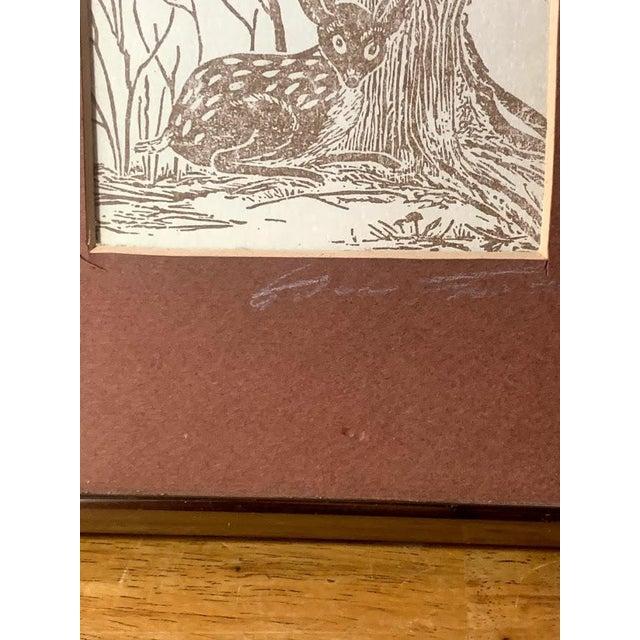 1970s Gwen Frostic Deer Block Print For Sale - Image 5 of 7