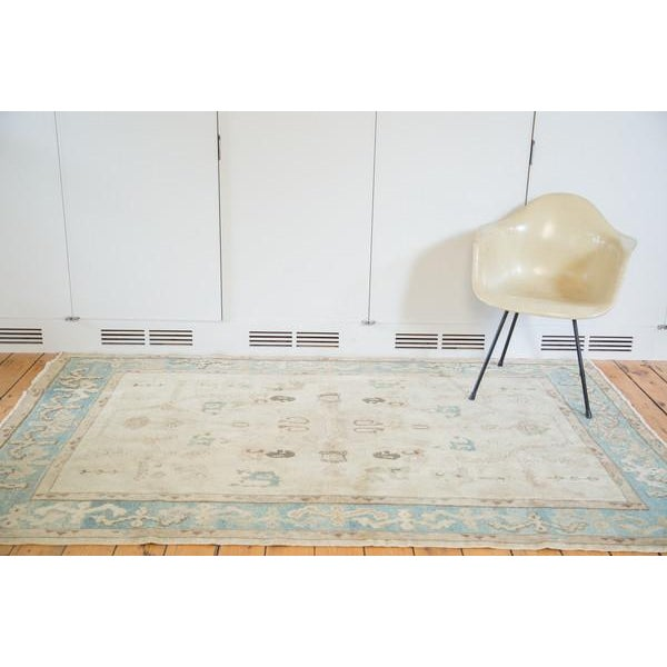 "Traditional Vintage Pale Blue Oushak Carpet - 5'4"" X 8' For Sale - Image 3 of 8"