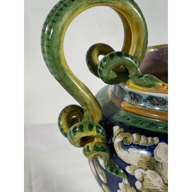 Vintage Italian Majolica Two-Handled Urn For Sale - Image 4 of 12