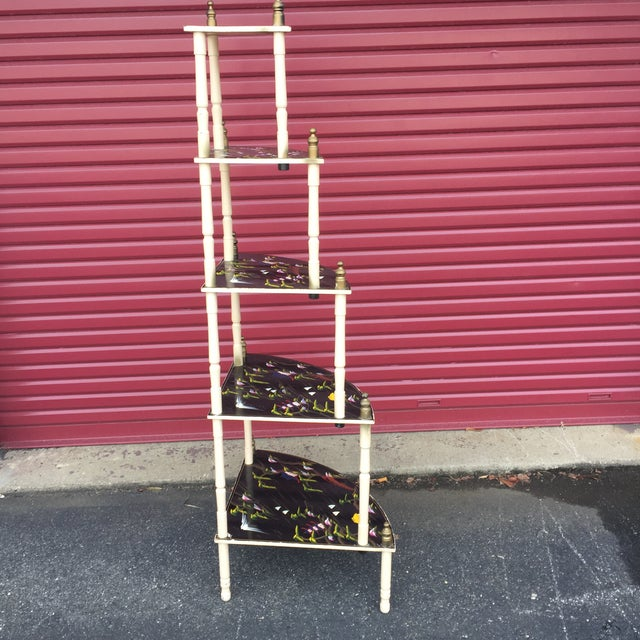 Wood Chinoiserie 5 Tier Corner Shelf For Sale - Image 7 of 11