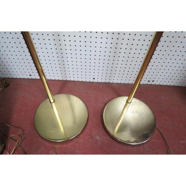 Mid-Century Modern Vintage Mid Century Modern Koch and Lowy Brass Swim Arm Floor Lamps, C. 1970 - a Pair For Sale - Image 3 of 7