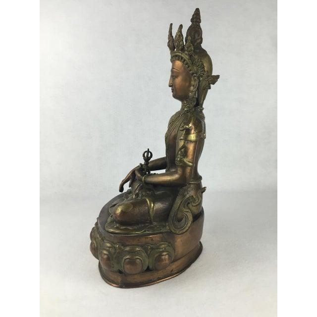 Vintage Tibetan Buddha Bronze-Cast Statue For Sale - Image 4 of 11