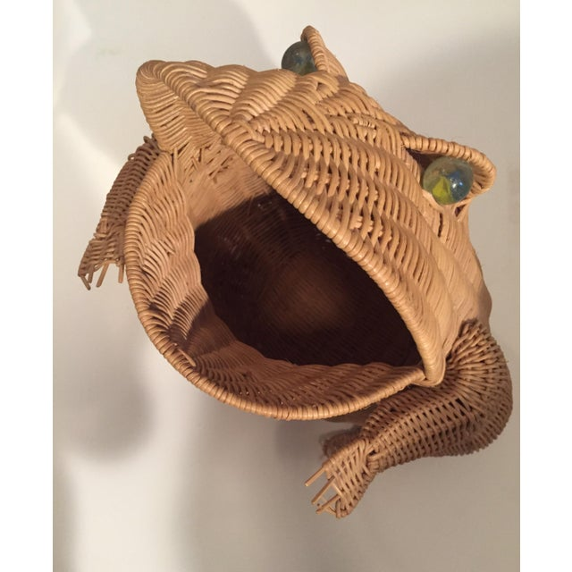 Boho Chic Vintage Wicker Frog Basket For Sale - Image 3 of 4
