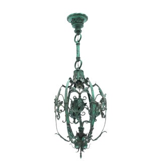1920's Bronze Floral Lantern With Patinated Finish For Sale