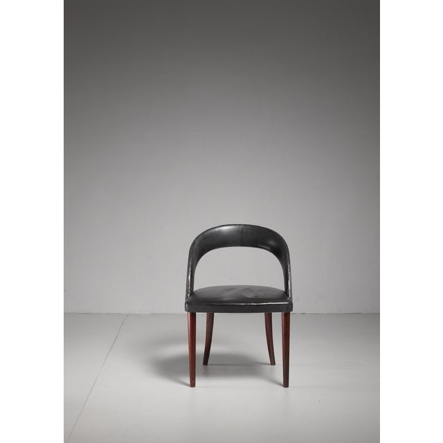 Frode Holm Rosewood and Black Leather Vanity Chair, Denmark, 1950s For Sale - Image 6 of 6