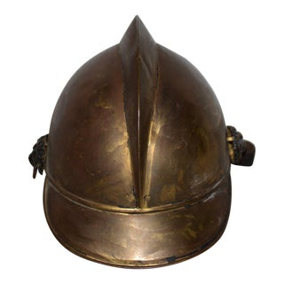 19th Century Brass French Fire Bridage Helmet C. 1890s For Sale