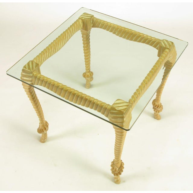 Carved & Limed Wood Knotted Rope End Table For Sale - Image 4 of 8