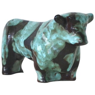 Mid-Century Ceramic Bull Sculpture by Marianna Von Allesch For Sale