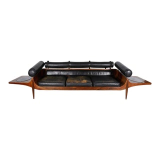 Custom Rosewood and Leather Mid-century Sofa by John Brathwaite, Canada 1965 For Sale