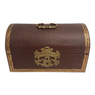 1950s Italian Tooled Leather Dome-Top Box with Gold Accents For Sale