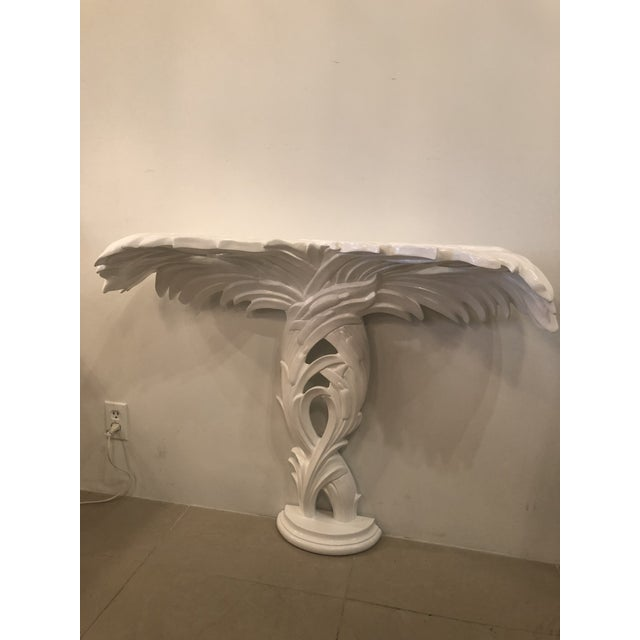 Chippendale Vintage Palm Frond Leaf White Lacquered Wall Console Table For Sale - Image 3 of 12