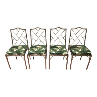 Palm Leaf Fabric & Chrome Dining Room Chairs - Set of 4 For Sale