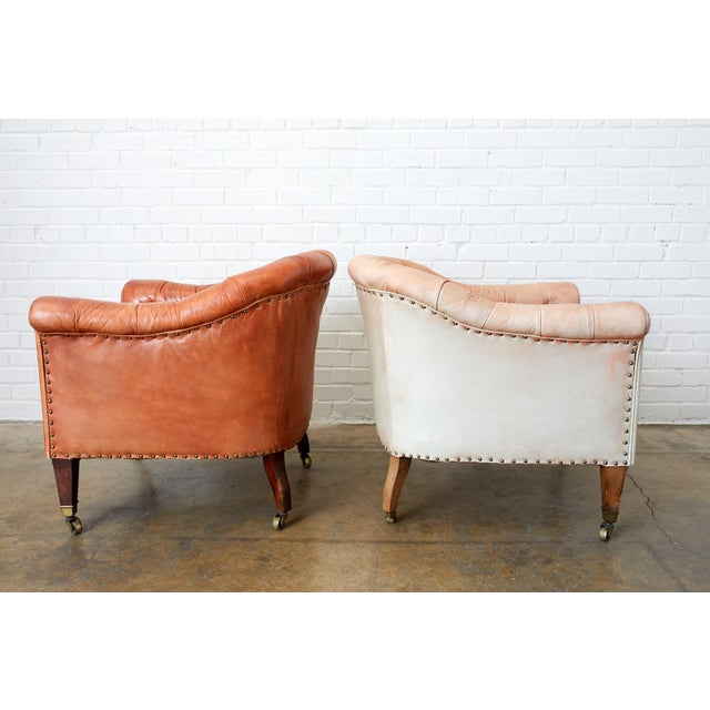 Sienna Pair of English Tufted Leather Chesterfield Club Chairs For Sale - Image 8 of 13