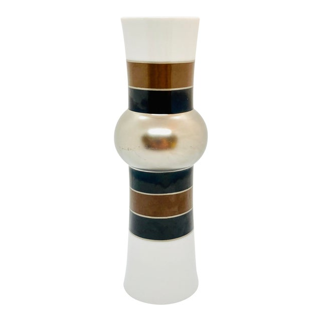 1970s Rosenthal Studio Line Vase With Silver, Brown, and Black Glaze Designed by Tapio Wirkkala For Sale