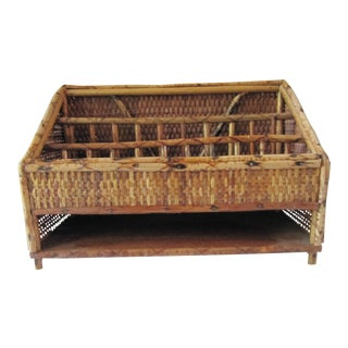Vintage British Colonial Bamboo & Wicker Desk Caddy For Sale