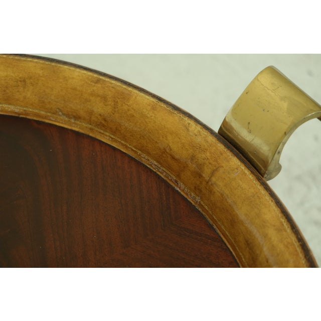 1990s Maitland Smith Round Mahogany Tray Top Coffee Table For Sale - Image 5 of 9