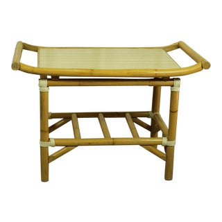 1960s Pagoda-Style Rattan Accent Table 001a For Sale