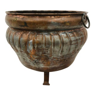 Antique Handmade Copper Footed Planter For Sale