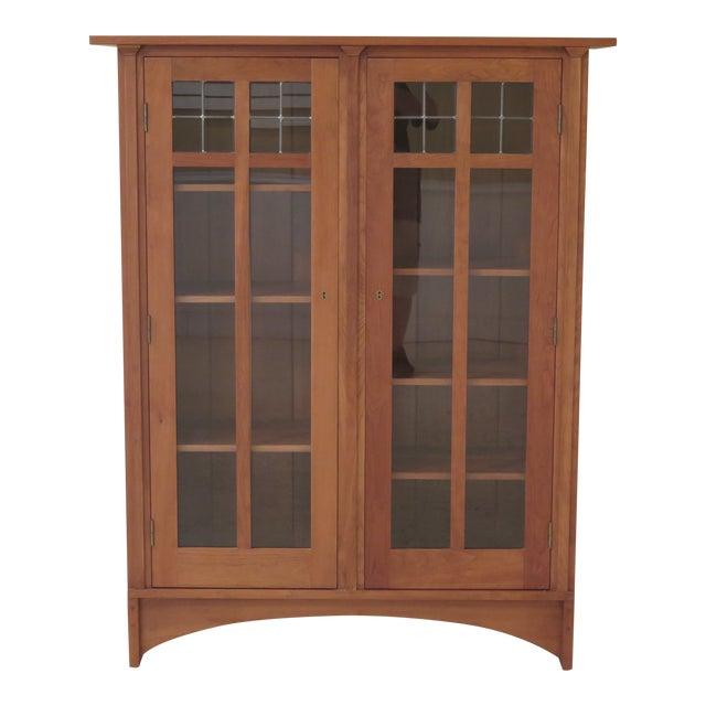 Stickley Mission Cherry Leaded Glass 2 Door Bookcase For Sale