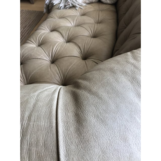 Taupe Tufted Distressed Loveseat For Sale - Image 5 of 9