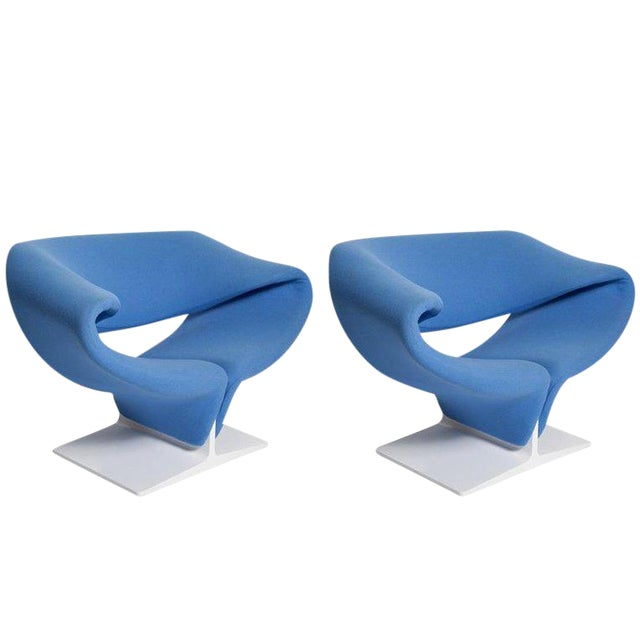 Vintage Pair of Ribbon Chairs by Pierre Paulin, Model F582 for Artifort For Sale