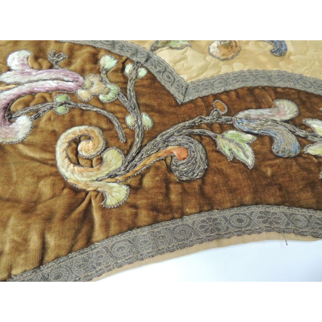 19th Century Silk Embroidery Byzantine Damask and Velvet Table Runner For Sale In Miami - Image 6 of 9