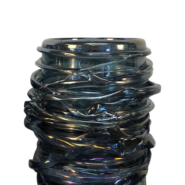 Brutalist 20th Century Bleu Fonce Murano Glass Vases by Pino Signoretto - a Pair For Sale - Image 3 of 5