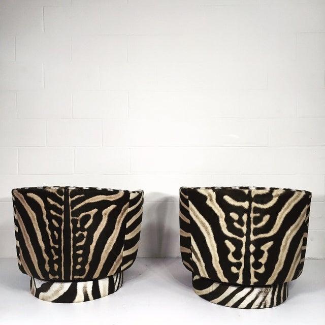 Milo Baughman Swivel Tilt Zebra Club Chairs - Pair - Image 6 of 7
