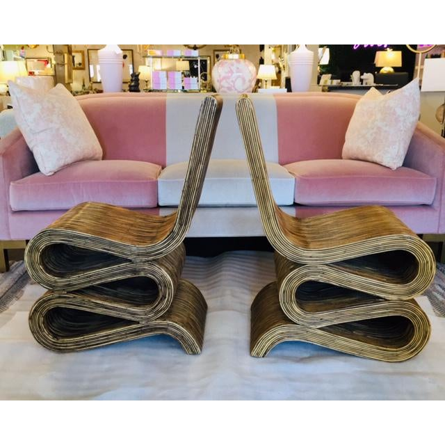 Modern 1980s Reeded Rattan Snake Chairs - a Pair For Sale - Image 3 of 6