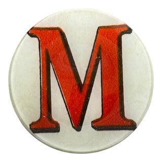 "John Derian Letter ""M"" Decoupage Plate For Sale"