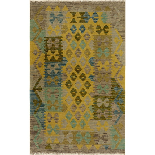 Blue Kilim Arya Jaquelin Gray/Gold Wool Rug -2'8 X 4'2 For Sale - Image 8 of 8