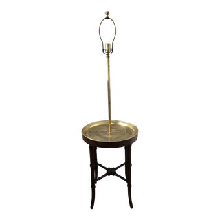 1970s Chinese Frederick Cooper Faux Bamboo and Brass Chinoiserie Tray Table Floor Lamp For Sale