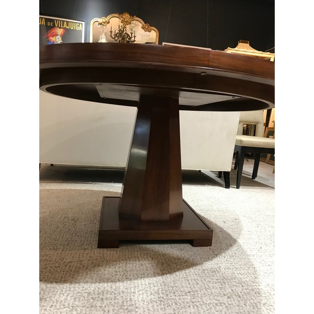 """54"""" diameter """"Arts and Crafts"""" style dining table by Barbara Barry. Table top features a modern criss-cross design and..."""