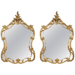 Pair of Italian Leaf and Scroll Giltwood Mirrors Louis XV Style Finely Carved For Sale