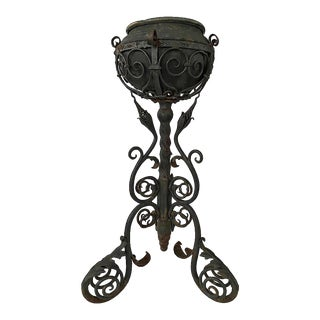 Early 20th Century Victorian Wrought Iron Oil Lamp Base For Sale