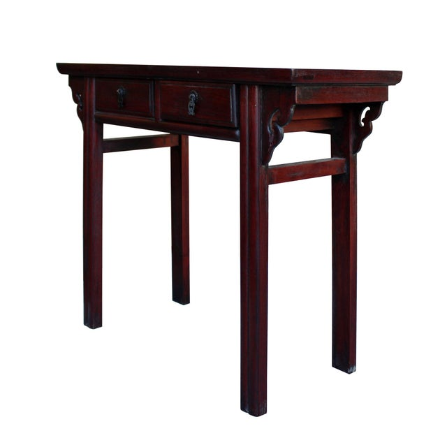 Asian Chinese Low Small Reddish Brown Huali Rosewood Plant Stand Side Table For Sale - Image 3 of 7
