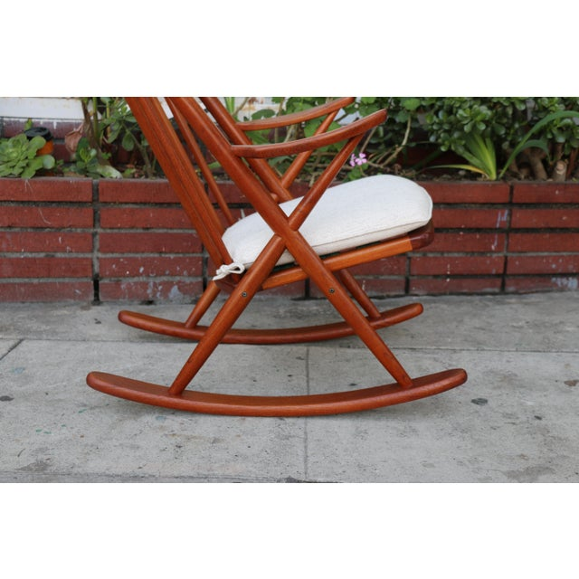 Danish Teak Rocking Chair by Reenshang for Bramin For Sale In Los Angeles - Image 6 of 9