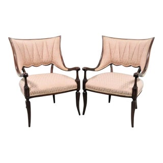 1940s Regency Mahogany Carved Fireside Chairs - a Pair