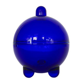 V. Nason Cobalt Blue Glass Modernist Covered Candy Dish