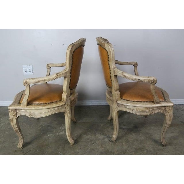 Pair of French Louis XV Style Carved Bleached Walnut and Leather Armchairs For Sale - Image 4 of 9