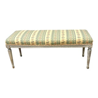19th Century French Louis XVI Style Painted Bench For Sale