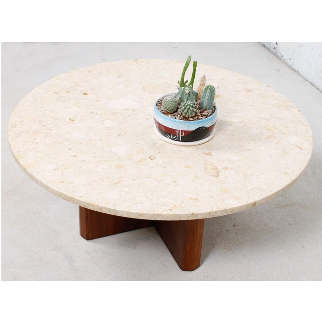 """Travertine Marble Top Coffee Table with """"X"""" Base - Image 3 of 9"""