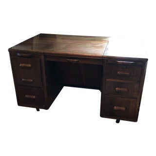 Industrial Art Deco Wooden Desk For Sale